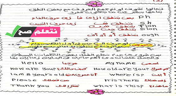 تأسيس الطفل في اللغة الانجليزية نطق وجرامر